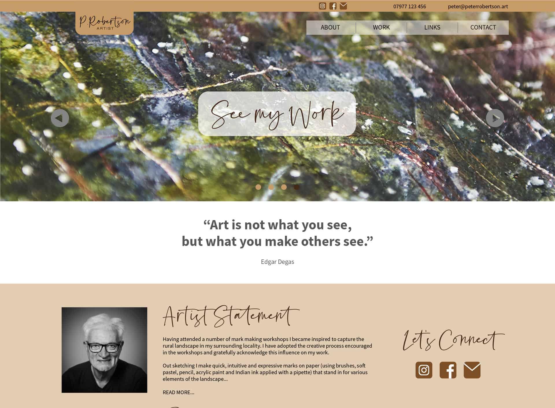 Peter Robertson Art website home page
